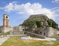 The Old Fort and Clock Tower,Corfu, Greece Stock Images