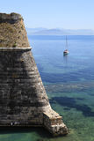 The Old Fort in Corfu, Greece. The old fort and island and bay Corfu Greece Stock Photo