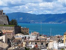 Old Fort Corfu. Old Fort, Wall, Temple and Harbor of Corfu Island, Greece Stock Image