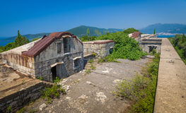 Old fort on the entrance to Kotor Bay. Old fortress ruins on the entrance to Kotor Bay. Fort Kabala, Montenegro Royalty Free Stock Photos
