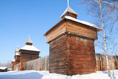 Old fort in Irkutsk museum. Old fort in Irkutsk architectural and ethnographic museum Taltsy Stock Photo