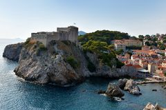 Old fort Lovrijenac in Dubrovnik,. The fortress Lovrijenac is located on a rock in the  northwest of the old town of Dubrovnik, Croatia Royalty Free Stock Photo