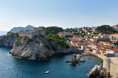 Old fort Lovrijenac in Dubrovnik,. The fortress Lovrijenac is located on a rock in the  northwest of the old town of Dubrovnik, Croatia Stock Images