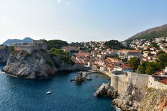 Old fort Lovrijenac in Dubrovnik,. The fortress Lovrijenac is located on a rock in the  northwest of the old town of Dubrovnik, Croatia Stock Photos