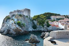 Old fort Lovrijenac in Dubrovnik,. The fortress Lovrijenac is located on a rock in the  northwest of the old town of Dubrovnik, Croatia Stock Photography