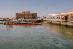 Old fort on Mediterranean Sea coast in city of Paphos Stock Photography
