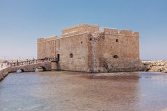 Old fort on Mediterranean Sea coast in city of Paphos Royalty Free Stock Images