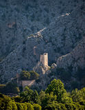Old fort on mountain at Omis Stock Image