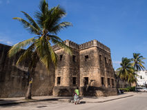 Old Fort (Ngome Kongwe) in Stone Town, Zanzibar. Horizontal photo of the Old Fort (Ngome Kongwe) also known as the Arab Fort in Stone Town on Zanzibar island stock image