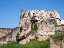 Old Fort (Ngome Kongwe) in Stone Town, Zanzibar. Horizontal photo of one of the towers of the Old Fort (Ngome Kongwe) also known as the Arab Fort in Stone Town royalty free stock image