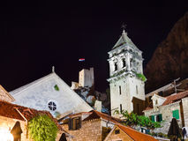 Old fort in Omis, Croatia at night Royalty Free Stock Images