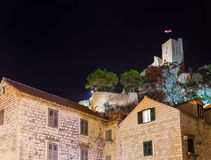 Old fort in Omis, Croatia at night Royalty Free Stock Photos