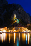 Old fort in Omis, Croatia at night Stock Image