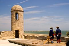 Old fort and soldiers. A view of two soldiers on duty at the old Spanish fort at St. Augustine, Florida Stock Photos