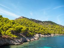 Old fort Assos village in Kefalonia island Royalty Free Stock Images