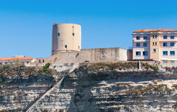 Old fort tower on the rocky coast. Bonifacio Stock Photo