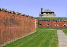 Old fort walls and guard tower Royalty Free Stock Photo