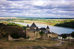 Old fortess. Against the backdrop of the river and the forest, Ukraine royalty free stock images