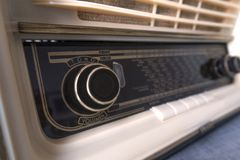 Vintage old radio Forties, on white background stock photo