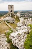 Old fortification in background Olsztyn Town. Royalty Free Stock Photos