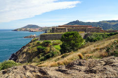 Old fortification in the Mediterranean coast Royalty Free Stock Image