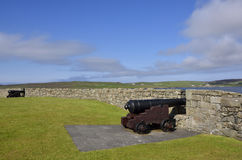 Old fortification. View of the old fortification, known as Fort Charlotte, overlooking Bressay Sound and Lerwick Harbour with the island of Bressay visible royalty free stock images