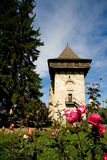 Old fortification watch tower. Medieval fortification and watch tower in Romania, Bucovina Region Royalty Free Stock Images