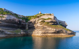 Old fortifications on cliff in Bonifacio, Corsica Stock Image