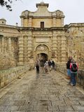 Main entrance gate to Mdina, Malta. The old fortifications of Mdina, Medina, Malta, used in the tv series Game of Thrones narow stock image