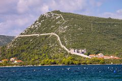 Old fortifications on the slopes of the sides of Kotor Stock Photos