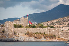 The old fortified castle. Coast and ports, Bodrum beach. stock photography