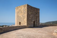 Old fortified castle high above Palma in Majorca Stock Photo