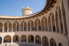 Old fortified castle high above Palma in Majorca royalty free stock images