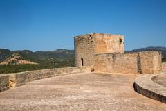 Old fortified castle high above Palma in Majorca royalty free stock photo