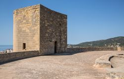 Old fortified castle high above Palma in Majorca stock photography