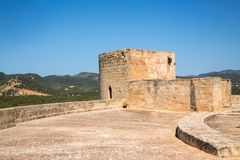 Old fortified castle high above Palma in Majorca Royalty Free Stock Image