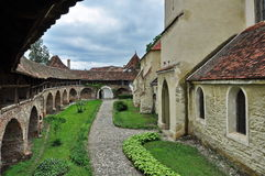 Old fortified church. Exterior showing the side of the fortified church in Transylvania, Romania stock photography