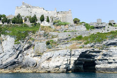 Old fortless on a rocky coastal outcrop at Portovenere Stock Image