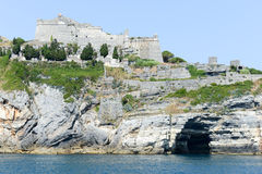 Old fortless on a rocky coastal outcrop at Portovenere Stock Photo