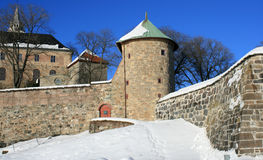 Old fortress. The medieval Akershus Fortress in Oslo, Norway stock photos