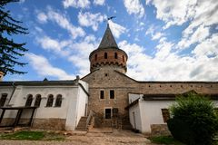 The central tower of the old fortress stock photography