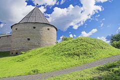 Old Fortress. Old Ladoga Fortress, Ancient Russian Capital stock photo