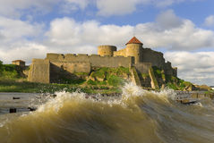 Old fortress. Citadel in town Belgorod-Dnestrovskiy (The South of Ukraine). Waves on the Dnestr estuary Stock Photos