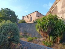 Old fortress aboce finalborgo village in italy Royalty Free Stock Photos