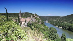 Old fortress Aiguèze overlooking the river Ardèche in France stock video