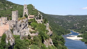 Old fortress Aiguèze overlooking the river Ardèche in France stock video footage