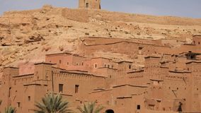 Old Fortress Ait Benhaddou, Atlas Mountains, Morocco, Africa panoramic shot. This is Old Fortress Ait Benhaddou, Atlas Mountains, Morocco, Africa panoramic shot stock video footage