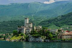 Old fortress on the background of Monte Baldo. royalty free stock images