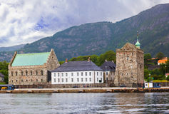 Old fortress in Bergen Norway. Architecture background Stock Photography