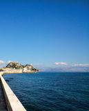 Old fortress, blue sky and sea. In Corfu island Greece Royalty Free Stock Images